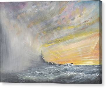 Yamato Emerges From Pacific Typhoon Canvas Print by Vincent Alexander Booth
