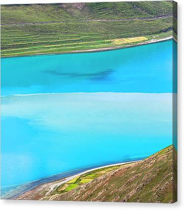 Canvas Print featuring the photograph Yamdrok Abstract 1, Tibet, 2007 by Hitendra SINKAR