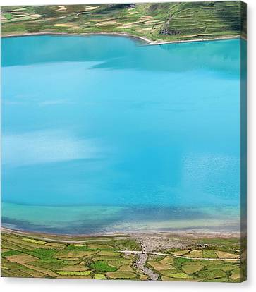 Canvas Print featuring the photograph Yamdrok Abstract 2, Tibet, 2007 by Hitendra SINKAR