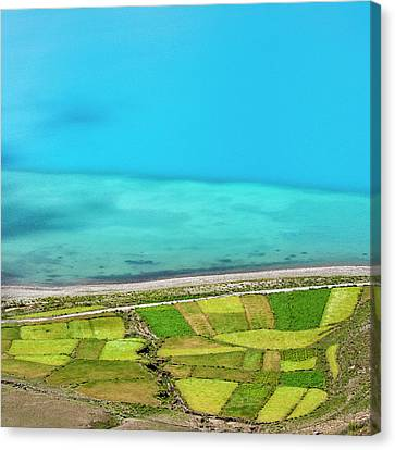 Canvas Print featuring the photograph Yamdrok Abstract 3, Tibet, 2007 by Hitendra SINKAR
