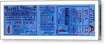 Yankee Stadium 1927 World Series Ticket Babe Ruth Game Canvas Print