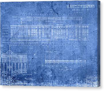 Yankee Stadium New York City Blueprints Canvas Print by Design Turnpike