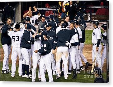 Arod Canvas Print - Yankees Celebrate by Andrew Kazmierski