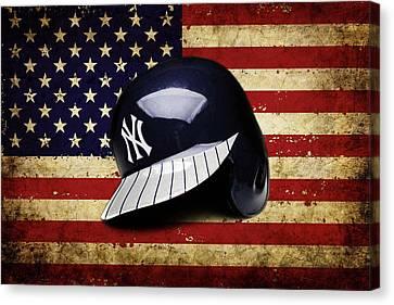 Yanks Batting Helmet Canvas Print
