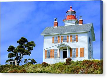 Canvas Print featuring the photograph Yaquina Bay Lighthouse by AJ Schibig