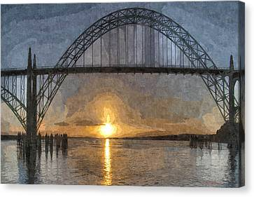 Yaquina Bay Sunset Canvas Print by Thom Zehrfeld