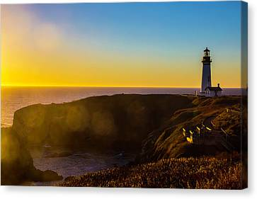 Yaquina Head Lighthouse Landscape Canvas Print by Garry Gay