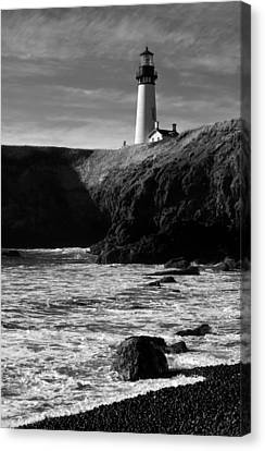 Yaquina Head Lighthouse Canvas Print by Lara Ellis