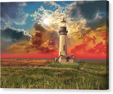 Storm Clouds Canvas Print - Yaquina Head Lighthouse by Bekim Art