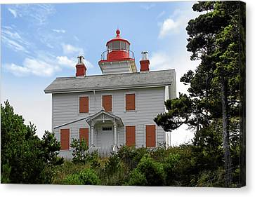 Yaquina Lighthouses - Yaquina Bay Lighthouse Oregon Canvas Print by Christine Till