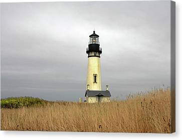 Yaquina Lighthouses - Yaquina Head Lighthouse Western Oregon Canvas Print by Christine Till