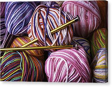 Yarn And Knitting Needles Canvas Print by Garry Gay