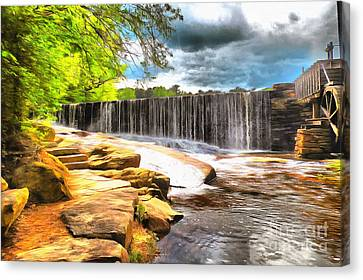 Yates Mill Dam Raleigh Nc Canvas Print by Mylinda Revell