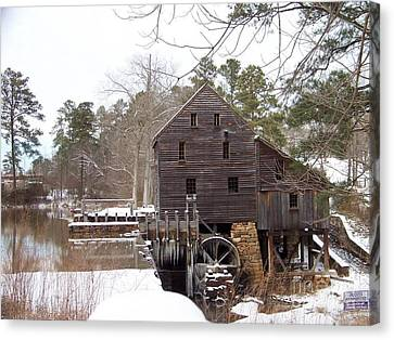 Yates Mill In Winter Canvas Print by Kevin Croitz