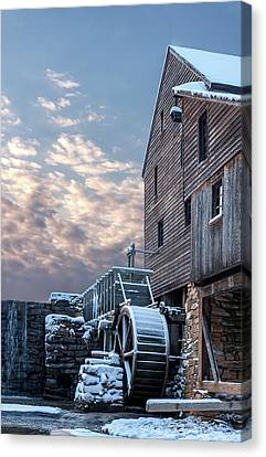 Yates Mill. Winter Sunset Canvas Print by Paul Malcolm