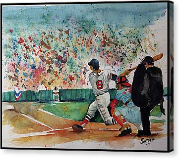 Yaz At The Plate Canvas Print by Fred Smith