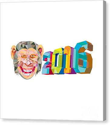 Year Of The Monkey Canvas Print - Year Of The Monkey 2016 Low Polygon by Aloysius Patrimonio