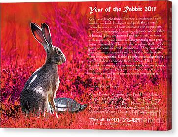 Year Of The Rabbit 2011 . Red Canvas Print by Wingsdomain Art and Photography