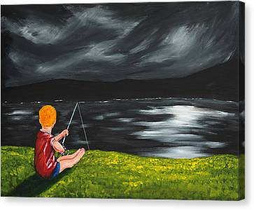 Canvas Print featuring the painting Yel No Catch A Kelpie Wi That by Scott Wilmot