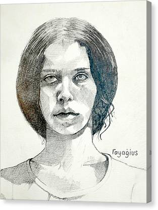 Canvas Print featuring the drawing Yelena by Ray Agius