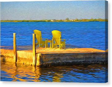 Yellow Adirondack Chairs On Dock In Florida Keys Canvas Print