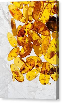 Canvas Print featuring the photograph Yellow Amber Stones  by Andrey  Godyaykin