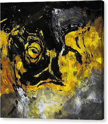 Canvas Print featuring the painting Yellow And Black Abstract Art by Ayse Deniz