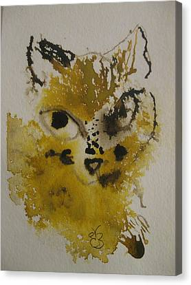 Canvas Print featuring the drawing Yellow And Brown Cat by AJ Brown