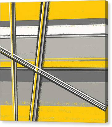 Yellow And Gray Abstract Art Canvas Print