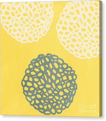 Yellow And Gray Garden Bloom Canvas Print by Linda Woods
