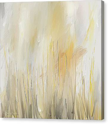 Yellow And Gray Modern Wall Art Canvas Print by Lourry Legarde