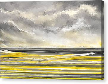 Abstract Art Ideas Canvas Print - Yellow And Gray Seascape Art by Lourry Legarde