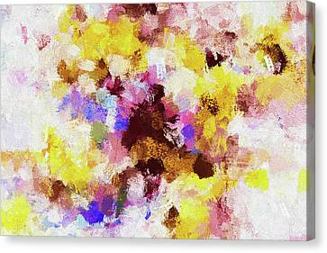 Canvas Print featuring the painting Yellow And Pink Abstract Painting by Ayse Deniz