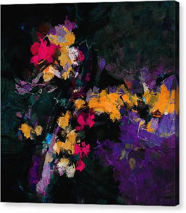 Canvas Print featuring the painting Yellow And Purple Abstract / Modern Painting by Ayse Deniz
