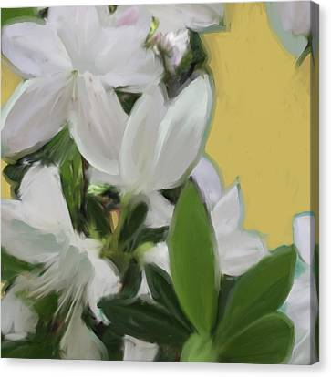 Yellow And White Flower Art 1  Canvas Print