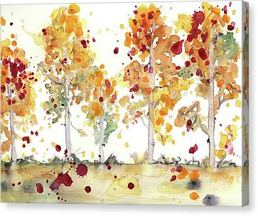 Canvas Print featuring the painting Yellow Aspens by Dawn Derman