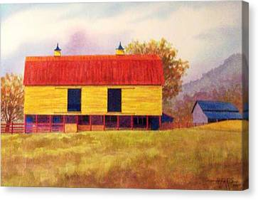 Yellow Barn Canvas Print by Hugh Harris