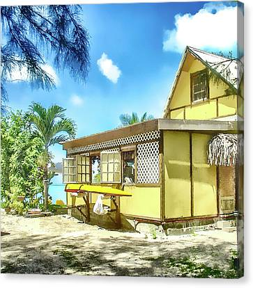 Yellow Beach Bungalow Bora Bora Canvas Print by Julie Palencia
