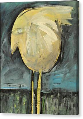 Yellow Bird In Field Canvas Print by Tim Nyberg