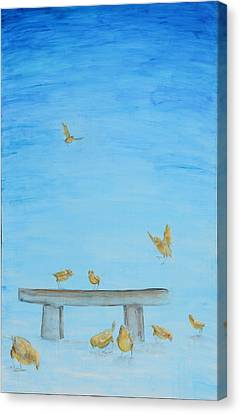 Canvas Print featuring the painting Yellow Birds In The Blue1 by Nik Helbig