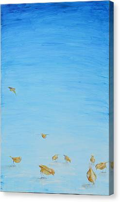 Canvas Print featuring the painting Yellow Birds In The Blue2 by Nik Helbig