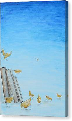Canvas Print featuring the painting Yellow Birds In The Blue3 by Nik Helbig