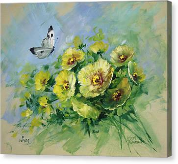 Yellow Blossoms And Butterfly Canvas Print by David Jansen