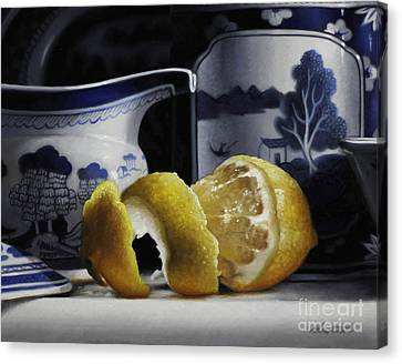 Yellow Blue And White Canvas Print