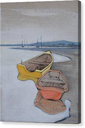 Yellow Boat 1 Canvas Print by Amy Bernays