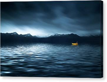 Canvas Print featuring the photograph Yellow Boat by Bess Hamiti
