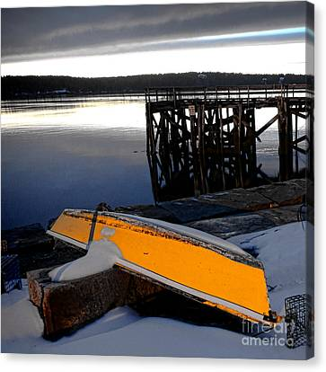 Maine Winter Canvas Print - Yellow Boat In Winter  by Olivier Le Queinec