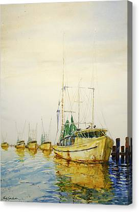Yellow Boats Canvas Print by Shirley Sykes Bracken