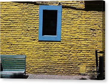 Canvas Print featuring the photograph Yellow Brick Window by Wilko Van de Kamp