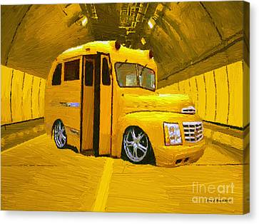 Yellow Bus Canvas Print by Jerry L Barrett